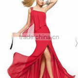 One shoulder beaded one shoulder chiffon long girls red evening dress CWFae5163