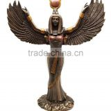 Bronze Painted Color Egyptian Isis Sculpture With Open Wings Goddess