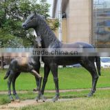 Copper mother and baby horse statue for sale