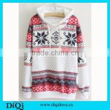 Christmas Clothes Snowflake Printed Sweatshirts Women Pullover Casual Hoodies Hoody Sweater Lady Hoody