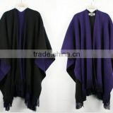 wholesale handmade black grey knitted wool poncho alpaca wool ponchos