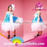 Hottest Royalblue Rosette Feather Long Dress Baby Girl Party Dress