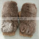 Fashion warm high quality rabbit fur knitted mittens wholesale