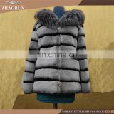 Wholesale New Long Style Womens Winter Fur Coat Whole Skin Real Rex Rabbit Silver Fur Coats With Hood