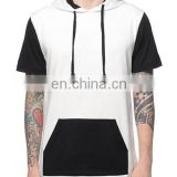 mens white and black contrast color hoodies Pull Over Hoodies for men short sleeve hoodies with pocket