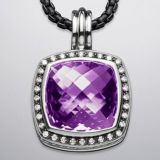Sterling Silver Jewelry 17mm Amethyst Moonlight Ice Enhancer(P-051)