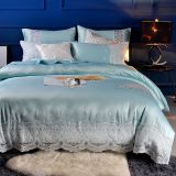 100% cotton bedding set luxury lace princess bedroom set flat sheet set Embroidery Duvet cover set