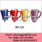 Zibo Made Tall V Shape Glazed Porcelain Promotion Keep Beer Mug for Daily Use with Good Quality