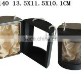 Fancy Cylindrical Perfume Gift Paper Packaging box with Handle and PVC clear Window P140