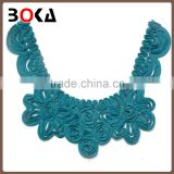 New fashion flower neck applique patch green neck collar polyester handmade patches for clothes