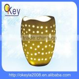 Home decor LED handmade ceramic flower vase light