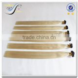 Wholesale top quality white russian virgin hair flat tip hair extension                                                                                                         Supplier's Choice