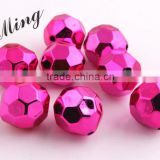 Rose Color AAA Quality Chunky 20mm Faceted Acrylic UV Plating Beads for Chunky Beaded Necklace Jewelry