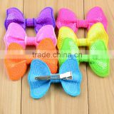 New style baby large sequin Bow hair clips boutique sequin Bow With Clip for hair accessory CB-3382
