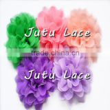 30 colors handmade fabric lace flower, Colorful flowers flocking mesh fabric flower for garment