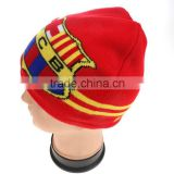 Soft winter football soccer fan warm crochet acrylic beanie new flog printing men knitted hat