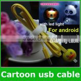 Cute Cartoon Micro USB data cable for Sumsung,HTC, Android Smart mobile phone LED Flash light (OEM ODM)