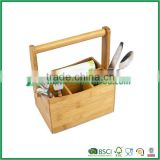Desktop bamboo cutlery organizer with handle