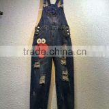 Fashion adults suspenders pants, ladies cartoon patch embroidery jeans
