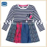 (H6086) 2-6y cheap apparel stock nova kids wear frocks baby girls stripe dresses fashion designs baby spring dresses