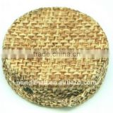 Woven Cloth Woven Beads, Acrylic with Cloth, BurlyWood, Flat Round, 33x11mm, hole: 3mm.(WOVE-R003-5)