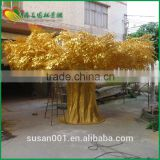 Large outdoor decorative tree artificial golden banyan tree fiberglass trunk artificial golden banyan tree