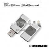 USB Flash Drive 3 in 1 Mobile HD i-Flash Drive Connector for iPhone/ Android (Gold-32GB)