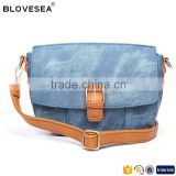 Fashionable casual style pin buckle with snap button closure deisgn ladies hottest crossbody denim bag