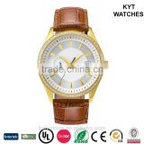 Gold color Inserted diamonds case with Auto-Mechanical movement genuine leather strap men watch