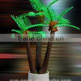 artificial coconut palm tree set/ artificial coconut tree fiberglass artificial tree/plastic leaves