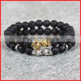 KJL-0105 8MM Nature Rock Black Lava Energy Stone Beads Double Skull Heads Bracelet, Men Stretch Bracelet