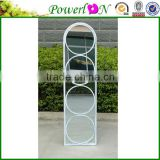 Antique Design Wrough Iron Frame Decorative Carlita Arched Window Wall Mirror For Garden Backyard Patio