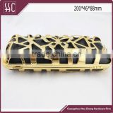 200*46*88mm new shell evening clutch, box purse clutch,crystal lock mesh butterfly frame