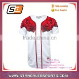 Stan Caleb red flowers colorfull printing dri fit fashional softball jersey/uniforms wholesale