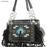 BLACK RHINESTONE CONCEALED CARRY WEAPON HANDBAG FAITH HOPE LOVE WESTERN PURSES WITH TASSEL