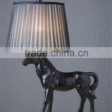 wholesale black horse table lamp with black pleated fabric lamp shade SAA CE for home decor