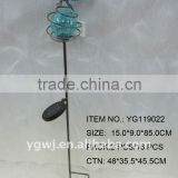 decorative metal dragonfly solar garden stake with crackle glass ball
