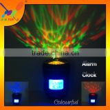 2015 Hot sale Creative LED Projection Light with Calendar Alarm Clock CAMERA LENS Shape Colourful Music Projection Lamp