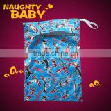 Washable Polyester printed PUL diaper bag, baby wet bag, wet nappy bag with zipper