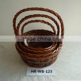 hot sell handmade round willow basket set