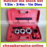 RATCHET DIE STOCK SET PIPE THREADER KIT TAP & DIE SET PLUMBERS FARMERS HAND TOOL