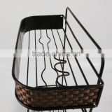 double layer bathroom metal shelf woven decoration BS2004-2L