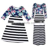 Family matching same outfits clothes sets mother and daughter Floral Striped Patchwork Long Dress