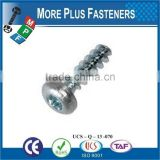 Made in Taiwan Pan Head Phil Torx or Pozi Recess Thread Forming Plastite Trilobular Screw