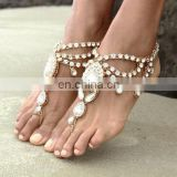 Retro Exaggerate Full Rhinestone Chain Anklet Ankle Bracelet Barefoot Sandal Beach Foot Jewelry