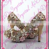 Aidocrystal ltaly stylish high heel dress shoes handmade gold rhinestone flower bridal mid heel wedding shoes