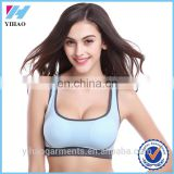 YIHAO Sexy Women Stretch Athletic Sports Bras, Seamless Cross Back Padded Raceback Tops for Gym Running Fitness