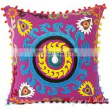 PURPLE DECORATIVE EMBROIDERED SOFA PILLOW CUSHION COVER Boho Indian Decor art Throw pillow Suzani work handmade art Wholesale
