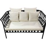 Mid Century creamy white Small Living Room couch aluminum wicker outdoor lounge furniture dubai