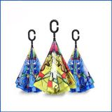 custom print C shape Handle Double Layer Inverted Umbrella Upside Down